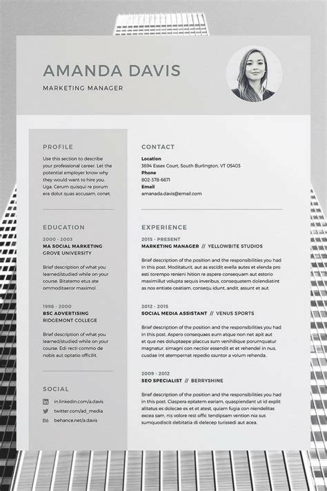 Professional Cv Template Word by Amanda 3 Page Resume Cv Template Word Photoshop