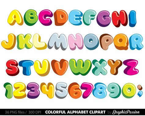 Fluffy Alphabet Clipart Color Alphabet Digital Alphabet