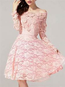lace flower bateau neck long sleeve vintage dress With robe rose pale dentelle