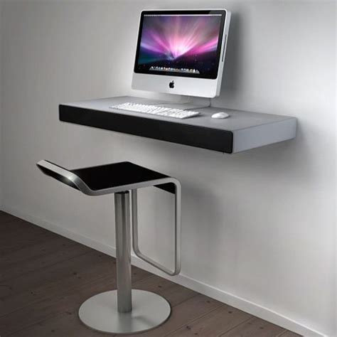 apple imac computer desk super minimalist wall mounted imac desk on white wall