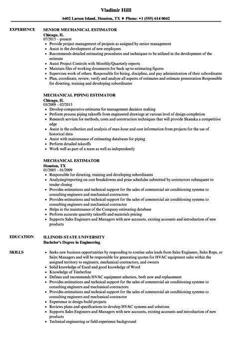 mechanical estimator resume sles velvet jobs