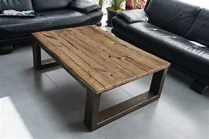 Table Basse En Bois : table bois acier ~ Teatrodelosmanantiales.com Idées de Décoration