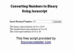 Number To Bin Converter Using Javascript