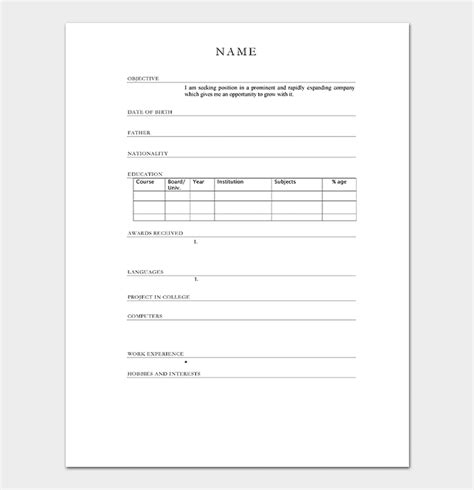Resume Sles Word Format by Resume Template For Freshers 18 Sles In Word Pdf