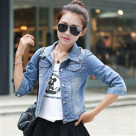 buy women basic coats korean fashion short denim jacket