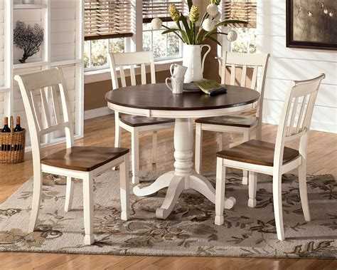 Twotone Cottage Round Table And 4 Side Chairs By