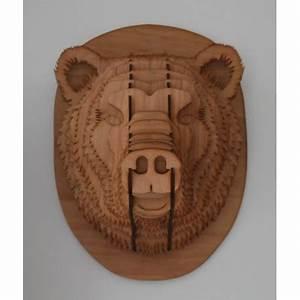 Animaux En Bois Décoration : t te d ours en bois puzzle 3d magnifique sculpture d animaux en contreplaqu pour la ~ Teatrodelosmanantiales.com Idées de Décoration