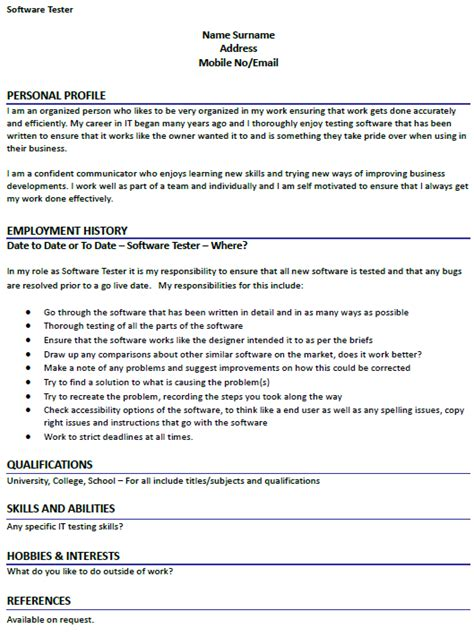 uk testing resume format 28 images qa software tester