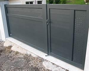 Portail Battant 5 Metres : portail battant aluminium sur mesure pas cher le portailalu ~ Nature-et-papiers.com Idées de Décoration