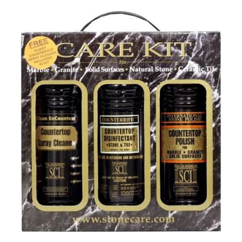 sci 32 oz countertop care 3 bottle kit for cleaning