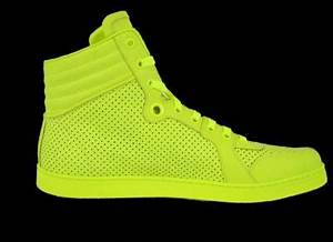 NEW GUCCI MEN S NEON YELLOW HI HIGH TOP LEATHER