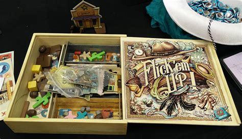 flick em  wooden box edition team board game
