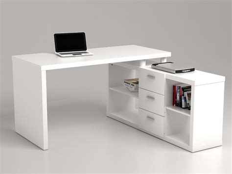 bureau dangle bureau d 39 angle aldric iii 3 tiroirs 2 étagères blanc