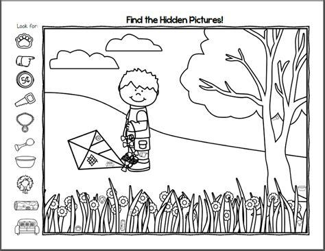 hidden pictures worksheets activity shelter