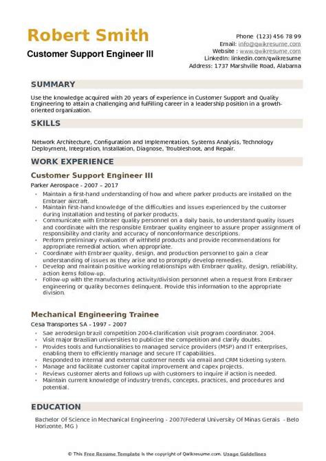 Customer Support Resume by Customer Support Engineer Resume Sles Qwikresume