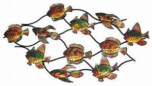 43 inch metal school of fish wall hanging nautical With kitchen cabinets lowes with metal school of fish wall art