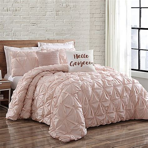 blush pink bedding sets buy loom jackson pleat mini comforter 4852