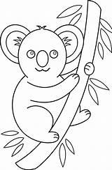 Koala Coloring Clip Clipart Bear Pages Animals Drawing Cartoon Outline Cute Easy Colouring Koalas Cliparts Animal Line Tree Colorable Library sketch template