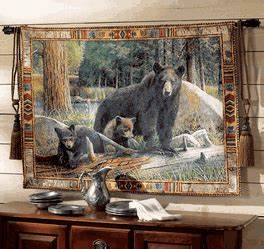 rustic wall dcor hangings lodge curtains and bear metal With best brand of paint for kitchen cabinets with black bear metal wall art
