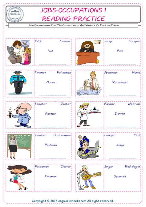 jobs occupations esl printable english vocabulary worksheets