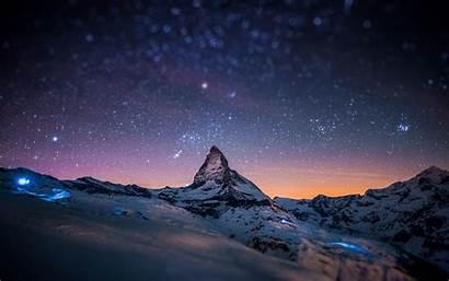 Uhd Wallpapers Night Sky Mountain Snow Stars