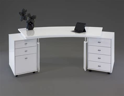 White Lacquer Desk modern curved white lacquer executive desk with two mobile