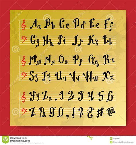 musical decorative education  notes alphabet font