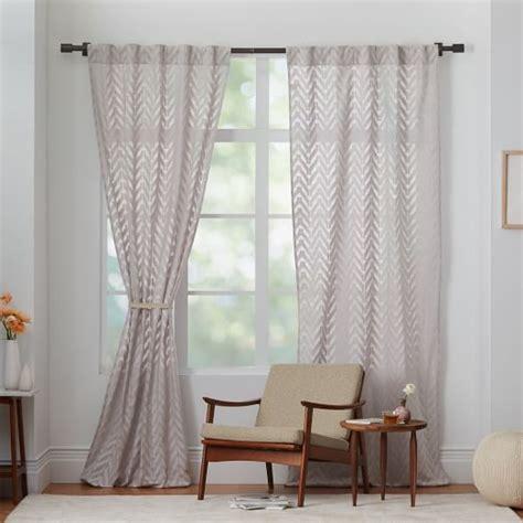 sheer gray curtains sheer chevron curtain gray west elm
