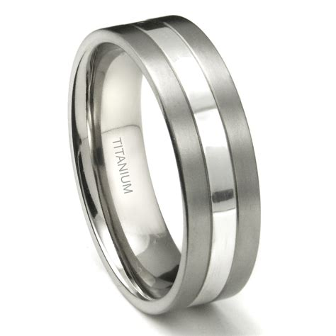 titanium ring wedding titanium 7mm two tone wedding ring