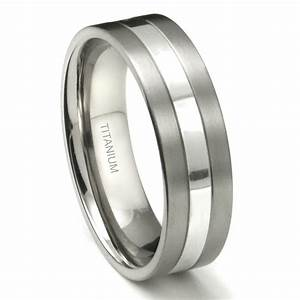 Titanium 7mm two tone wedding ring for Titanium ring wedding