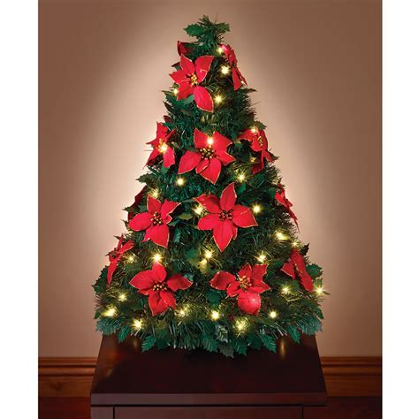 best pop up xmas tree the pop up poinsettia tabletop tree hammacher schlemmer