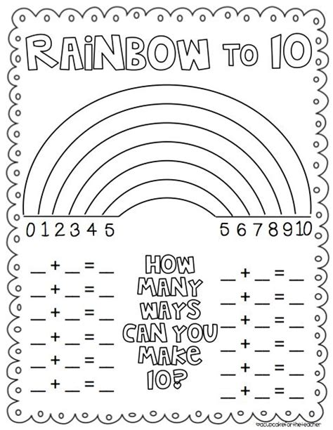 rainbow number combinations that make ten freebie from a cupcake for the teacher