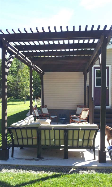 built  pergola  mobile home makeover