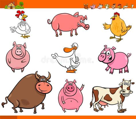 In this lesson, you will learn a list of popular farm or domestic animals in english with esl infographic. Cartoon Farm Animal Characters Collection Stock Vector ...