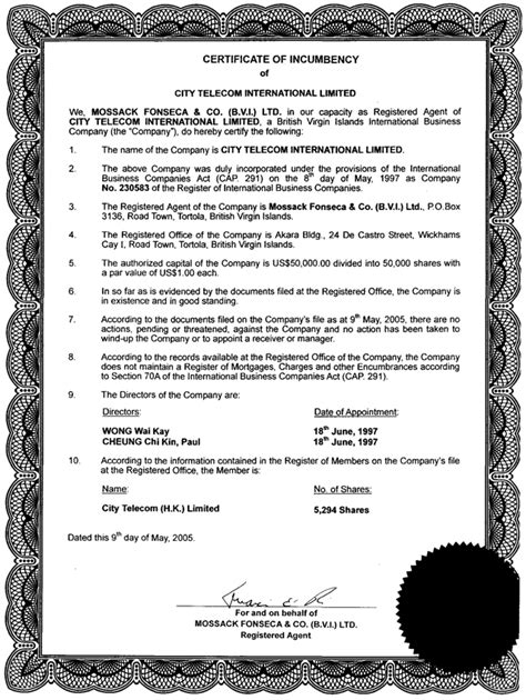Free Printable Certificate Of Incumbency Form (GENERIC