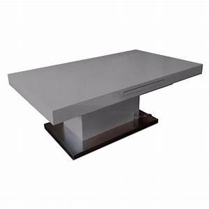 Table Extensible Grise : tables relevables tables et chaises table basse relevable extensible setup gris brillant ~ Teatrodelosmanantiales.com Idées de Décoration