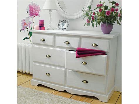 commode 7 tiroirs en pin massif yuca coloris teint 233 blanc tous les produits mobilier prixing