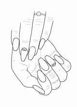 Nail Coloring Clipart Adult Colouring Acrylic Drawings Nails Drawing Sheets Manicure Sketches Outline Hands Blank Coffin Stiletto Illustration Tech Line sketch template