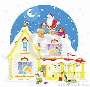 Santa The Housetop With Gifts Stock Vector Image