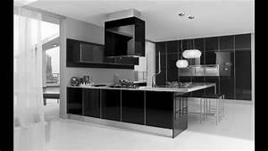 Ultra Modern Black And White Kitchen Decorating Interior