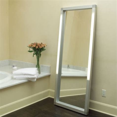 floor mirror with led lights rezek lighted floor mirror contemporary mirrors by lumens