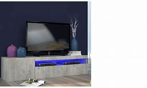 Meuble Tele Gris : meuble tv contemporain couleur bois gris avec led orlando ~ Teatrodelosmanantiales.com Idées de Décoration