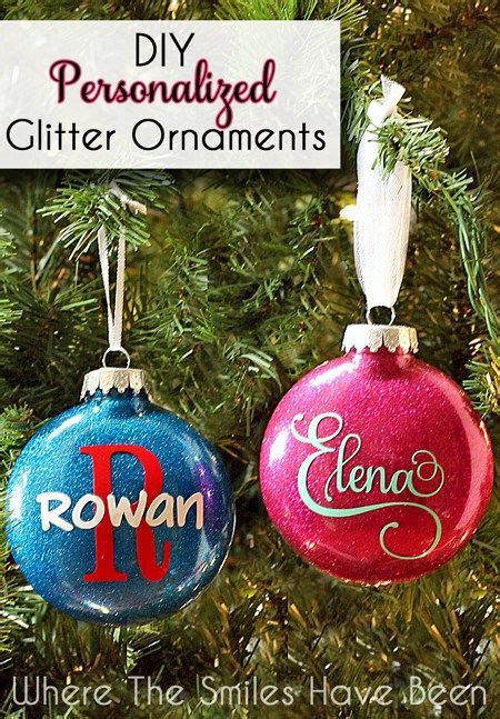diy personalized glitter ornaments hometalk funky