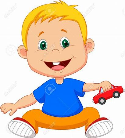 Playing Cartoon Boy Toy Vector Clipart Illustration
