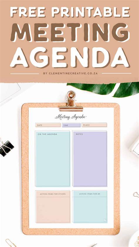 stylish printable meeting agenda template