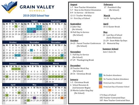 district calendar grain valley schools