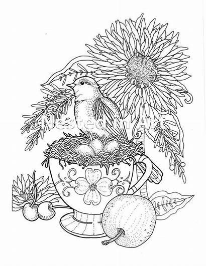 Coloring Teacup Adult Bird