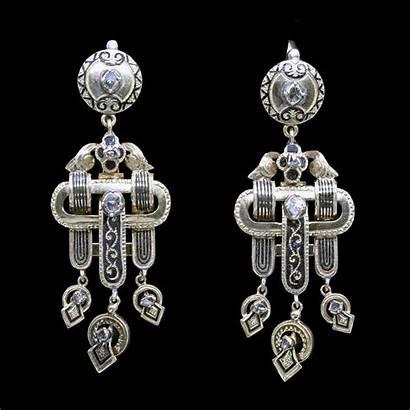 Victorian Jewelry Earrings Antique Mourning Enamel Diamonds
