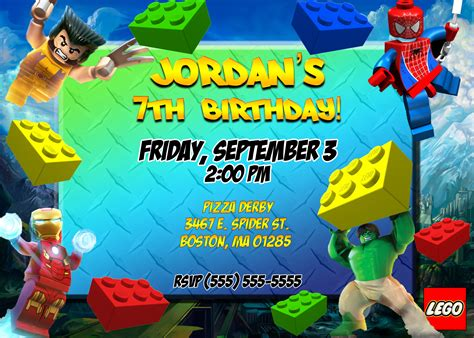 superhero lego birthday party invitation  printable