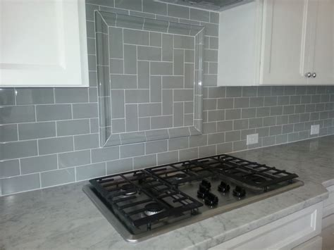 Herringbone Backsplash Tile : Gray Subway Tile Backsplash Herringbone Inset Interior Designs